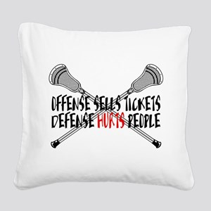 Lacrosse Defense Hurts Square Canvas Pillow