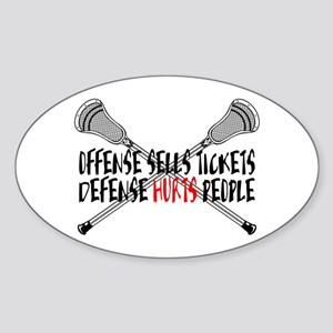 Lacrosse Defense Hurts Sticker (Oval)
