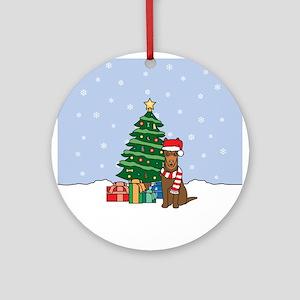 Red Australian Kelpie Christmas Round Ornament
