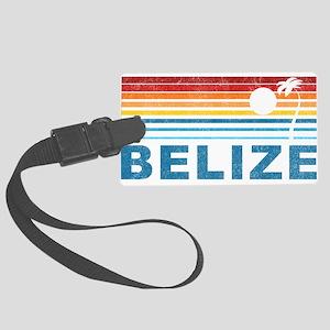 Retro Belize Palm Tree Large Luggage Tag