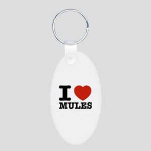 I love Mules Aluminum Oval Keychain