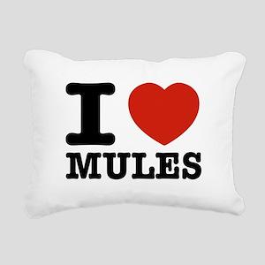 I love Mules Rectangular Canvas Pillow