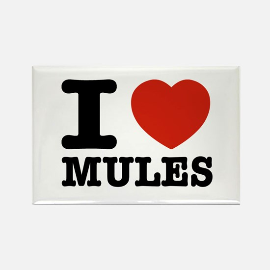 I love Mules Rectangle Magnet