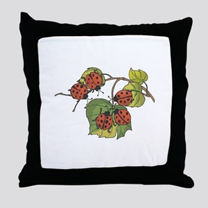 Ladybugs on Leaves Throw Pillow