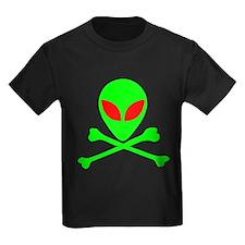 Alien Skull and Bones Kids Dark T-Shirt