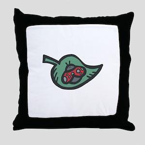Cute Ladybug on a Leaf Throw Pillow