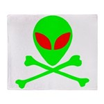 Alien Skull and Bones Throw Blanket