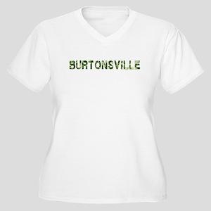 Burtonsville, Vintage Camo, Women's Plus Size V-Ne