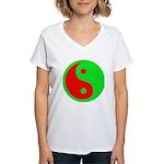 Alien Yin-Yang Women's V-Neck T-Shirt