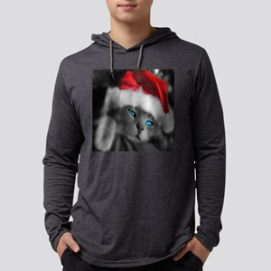 Christmas Kitten Mens Hooded Shirt