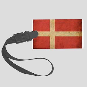 Vintage Denmark Flag Large Luggage Tag
