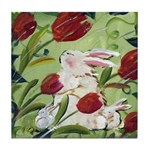 Tile Coaster Bunny & Babies with Red Tulips