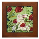 Framed Tile Bunny Rabbits in the Wind Red Tulips