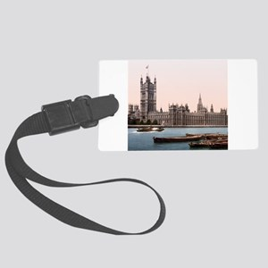 Vintage Houses of Parliament Large Luggage Tag