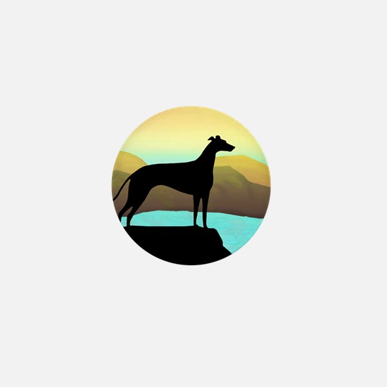 greyhound by the sea Mini Button