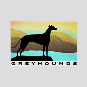 greyhound by the sea Rectangle Magnet