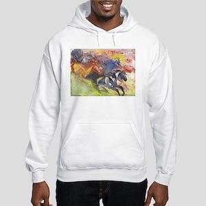 Abstract Horse Herd Hooded Sweatshirt