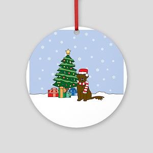 Liver Flat Coated Retriever Christmas Ornament