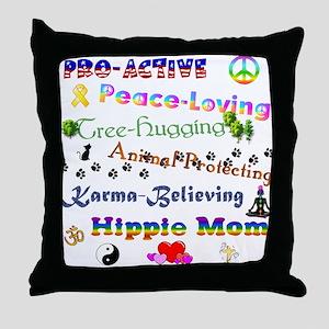 HippieMom Throw Pillow