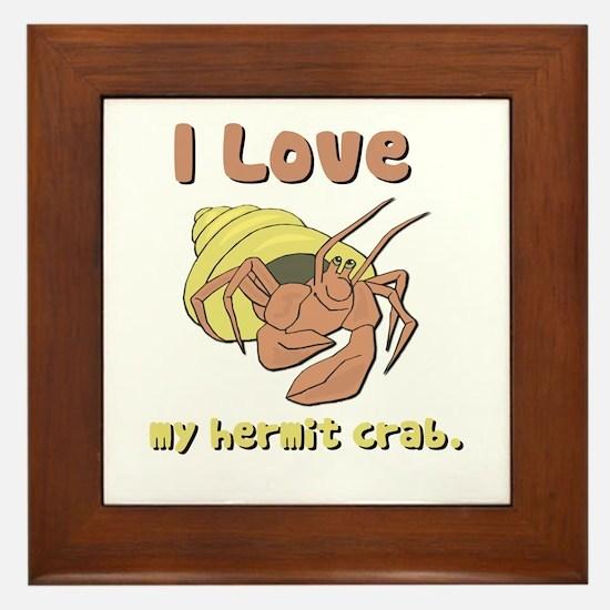 I Heart (love) my Hermit Crab Framed Tile