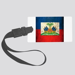 Grunge Haiti Flag Large Luggage Tag