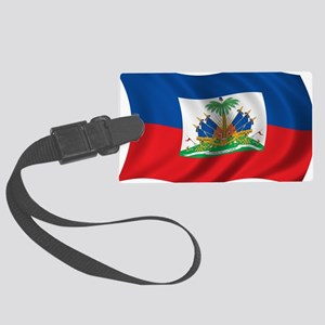 Wavy Haiti Flag Large Luggage Tag