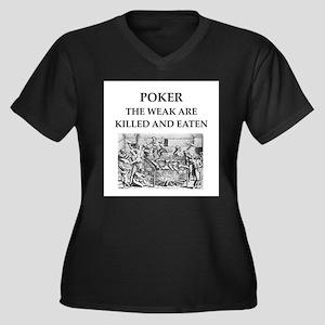 poker Women's Plus Size V-Neck Dark T-Shirt