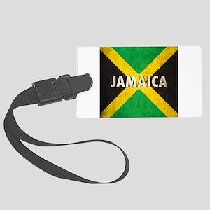 Jamaica Grunge Flag Large Luggage Tag
