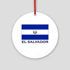 El Salvador Flag Gear Ornament (Round)