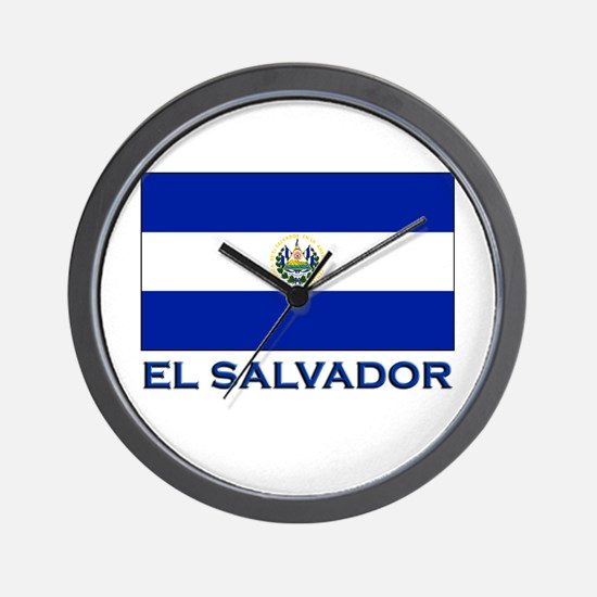 El Salvador Flag Gear Wall Clock
