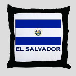 El Salvador Flag Gear Throw Pillow