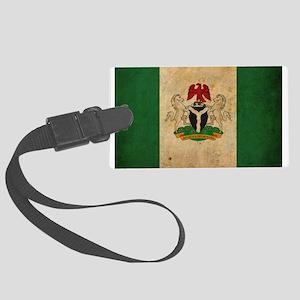 Vintage Nigeria Flag Large Luggage Tag