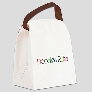 Doodles Rule Print Canvas Lunch Bag