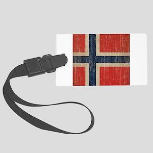 Vintage Norway Flag Large Luggage Tag