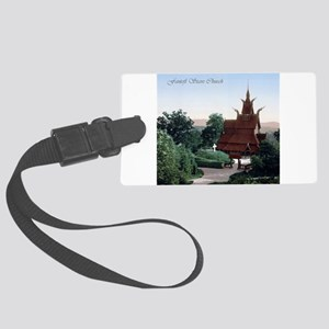 Vintage Fantoft Stave Church Large Luggage Tag