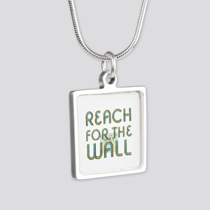 Swim Slogan Silver Square Necklace