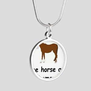 horse ate my homework Silver Round Necklace