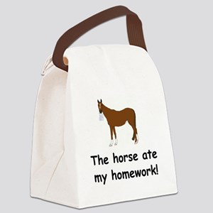 horse ate my homework Canvas Lunch Bag