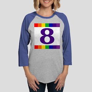 Tile_RainbowHouseNumbers8 Womens Baseball Tee