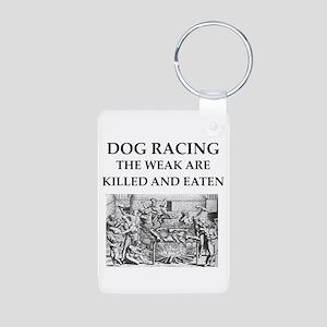dog racing Aluminum Photo Keychain