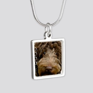 Chocolate Doodle Silver Square Necklace