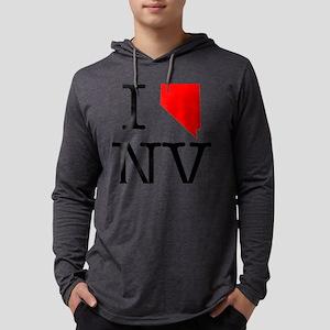 I Love NV Nevada Mens Hooded Shirt