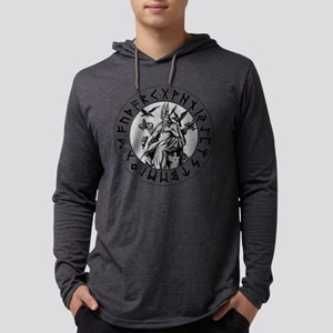 Odin Rune Shield Blk on Wht Mens Hooded Shirt