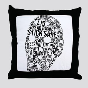 Vintage Hockey Goalie Typography Mask Throw Pillow
