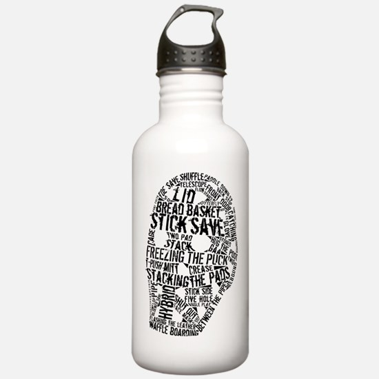 Vintage Hockey Goalie Typography Mask Water Bottle