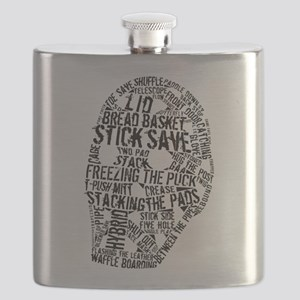 Vintage Hockey Goalie Typography Mask Flask