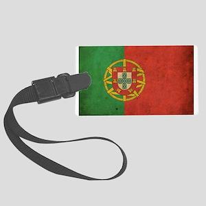 Vintage Portugal Flag Large Luggage Tag