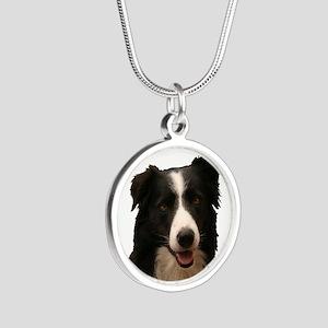 Border Smile Silver Round Necklace Necklaces