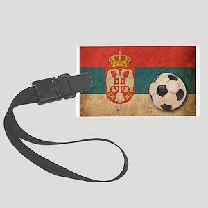 Vintage Serbia Football Large Luggage Tag