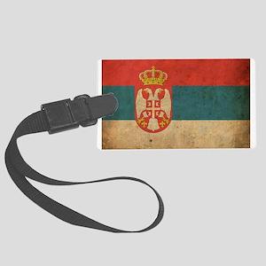 Vintage Serbia Flag Large Luggage Tag